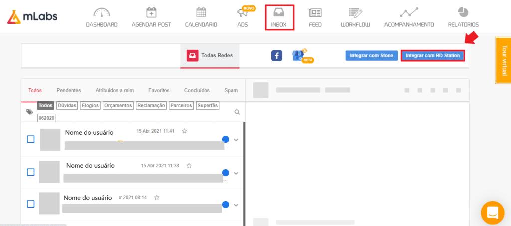 geração de leads: imagem da tela de mensagens privadas da mLabs indicando onde se localiza o botão de integração com RD Station