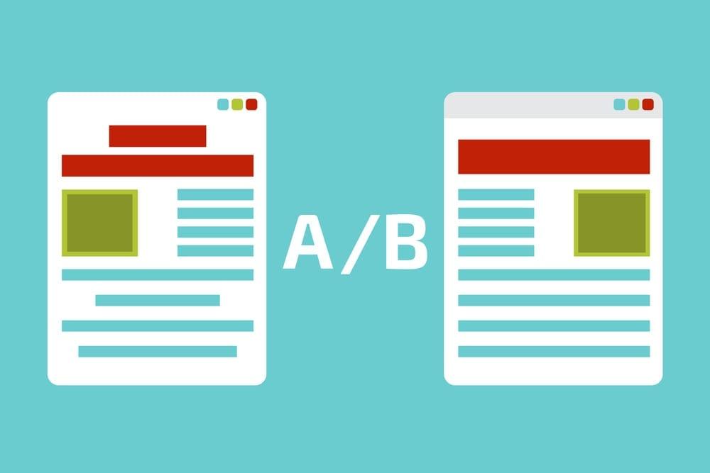 teste ab: imagem de duas páginas desenhadas e as palavras A/B entre elas em um fundo na cor azul