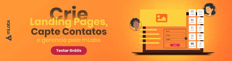 imagem de um banner publicitário com chamada para criar landing pages pela mLabs