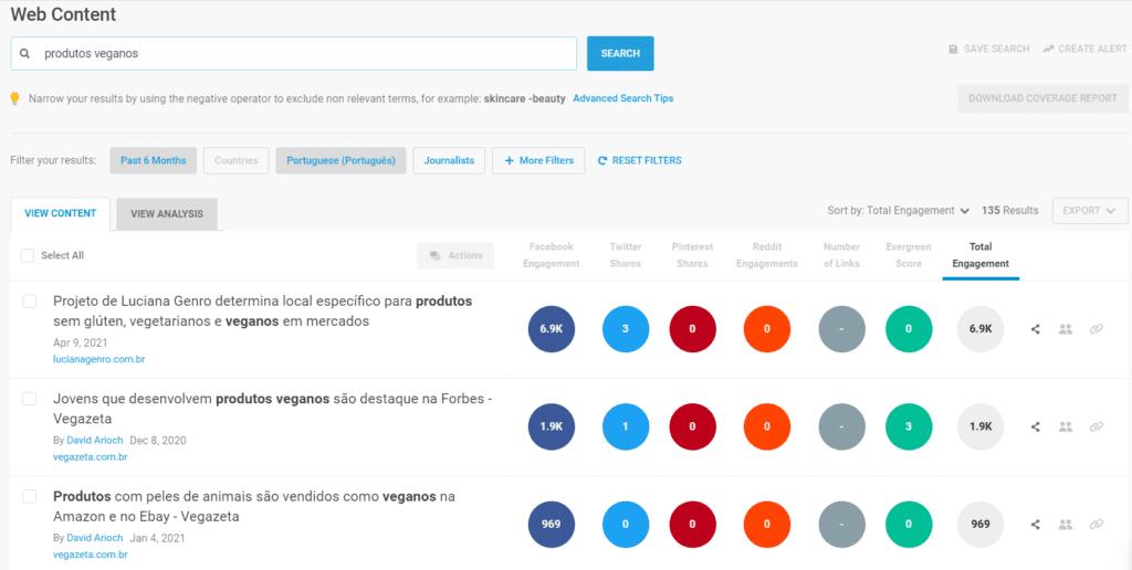 Nicho de mercado: print de tela do BuzzSumo. A imagem mostra os resultados da busca do termo produtos veganos. No centro, bolas coloridas mostram o volume de buscas do termo em diferentes redes sociais.