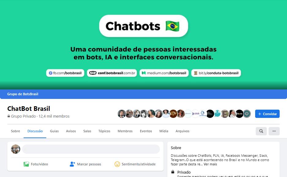 Nicho de mercado: print de tela da página inicial grupo chatbots do Facebook. A imagem tem um fundo verde, a bandeira do Brasil ao lado do título da página e outras informações gerais sobre o grupo