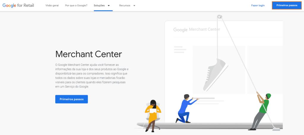 Google Shopping: print da tela inicial do site Google Merchant Center. Na imagem, há vetores coloridos de pessoas. Duas delas estão erguendo um sapato por uma corda.