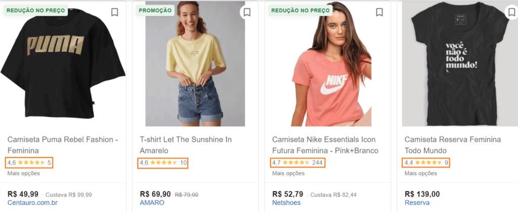 Google Shopping: print de tela da busca no Google por camiseta feminina. Aparecem produtos diferentes e, abaixo de cada item, estrelas mostram a avaliação de cada produto.
