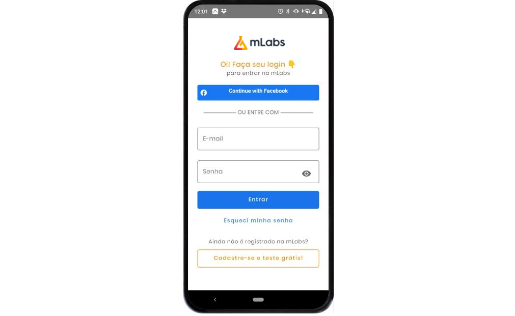 mlabs app: imagem da tela de loggin da mLabs