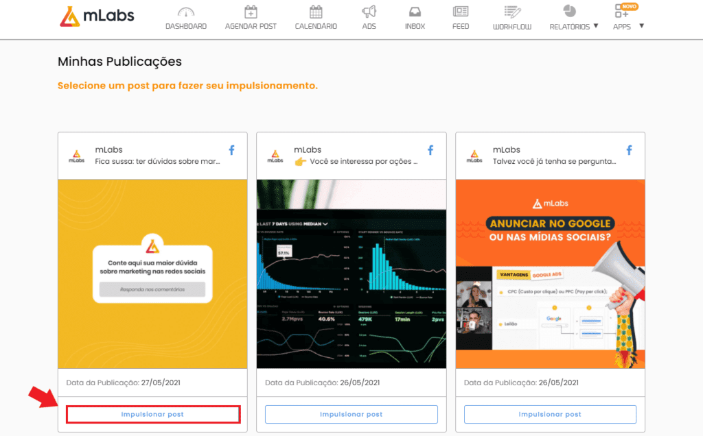 cupom mlabs: imagem da tela de impulsionamentos mostrando os posts para selecionar