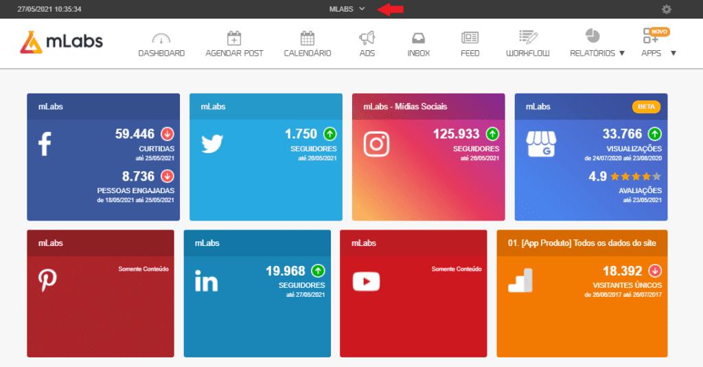 redes sociais: imagem do sistema mlabs