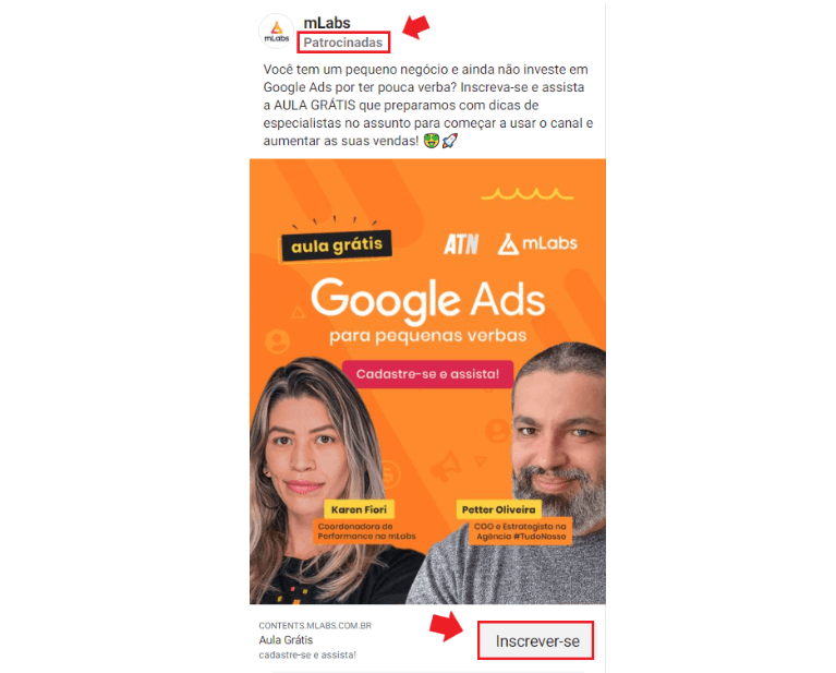 Instagram Ads: imagem de um post patrocinado sobre aula grátis de Google Ads para pequenas verbas. No post aparece os rostos de uma mulher e de um homem com texto sobre o evento.