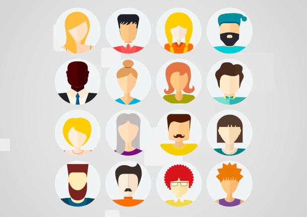 clientes potenciais: imagem em desenho de vários rostos de pessoas espalhados