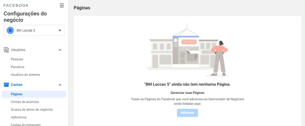 facebook business: imagem da tela de adicionar páginas do gerenciador de negócios do facebook
