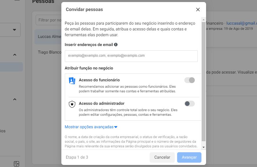 facebook business: imagem da tela de convidar pessoas do gerenciador de negócios do facebook