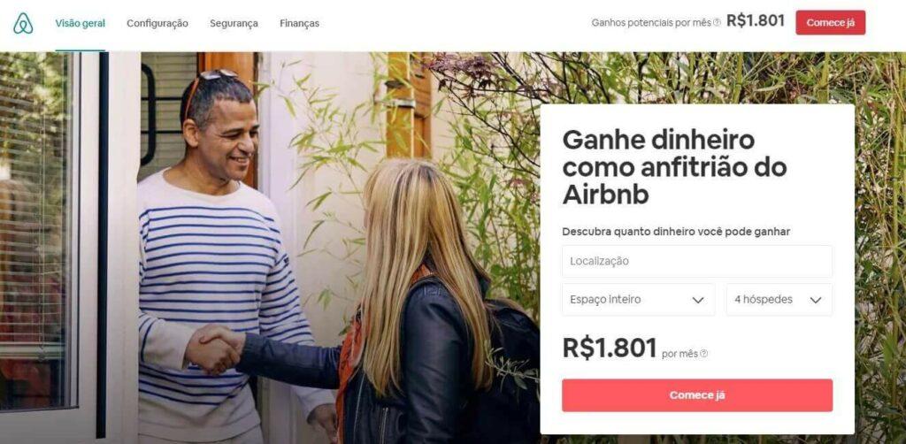 landing page exemplos: imagem da página da airbnb com duas pessoas se cumprimentando na entrada de uma casa ao fundo, e na frente ao lado direito um formulário para preenchimento na cor branca com o título ganhe dinheiro como anfitrião no airbnb
