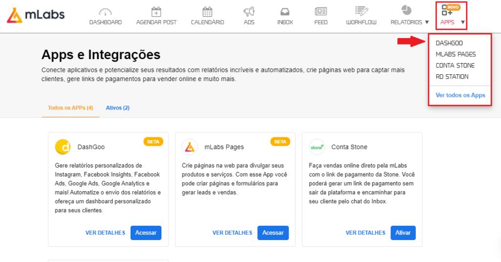 mlabs e dashgoo: imagem da tela da mlabs indicando onde se localiza o menu de aplicativos e a dashgoo