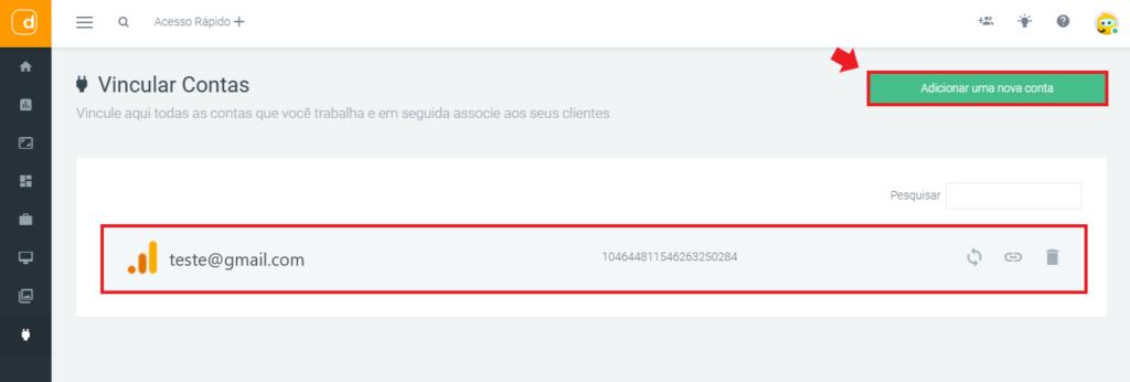mlabs e dashgoo: imagem da tela de vincular conta da Dashgoo, indicando onde se localiza o botão adiciona nova conta