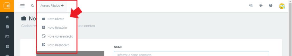 mlabs e dashgoo: imagem da tela da dashgoo indicando onde se localiza o menu de acesso rápido