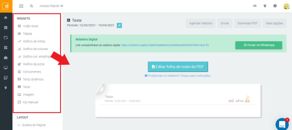 mlabs e dashgoo: imagem da tela de relatórios indicando onde se localizam os widgets para adicionar no documento