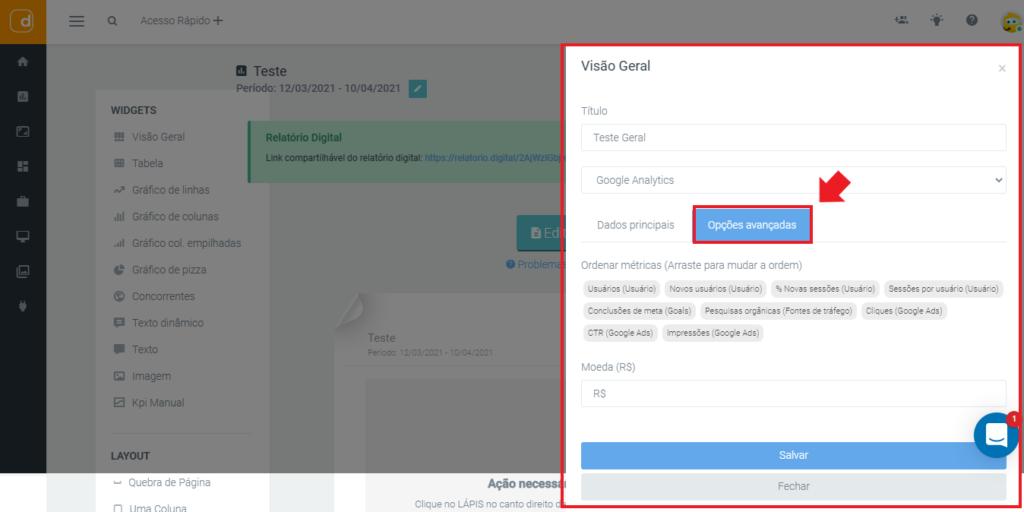mlabs e dashgoo: imagem da tela de visão geral dos relatórios indicando onde se localiza o botão de opções avançadas