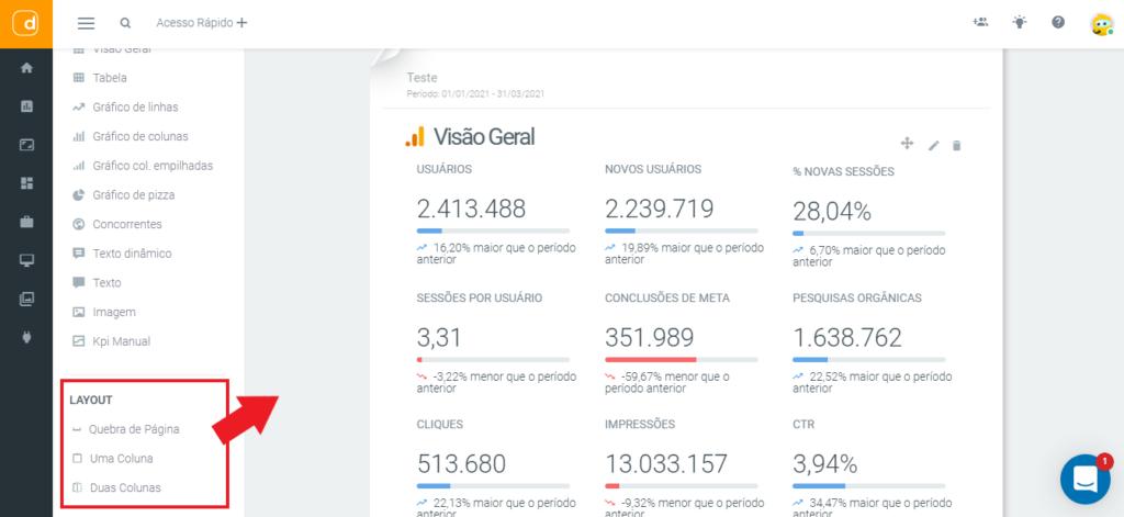 mlabs e dashgoo: imagem da tela de relatórios indicando onde se localiza o menu de layouts