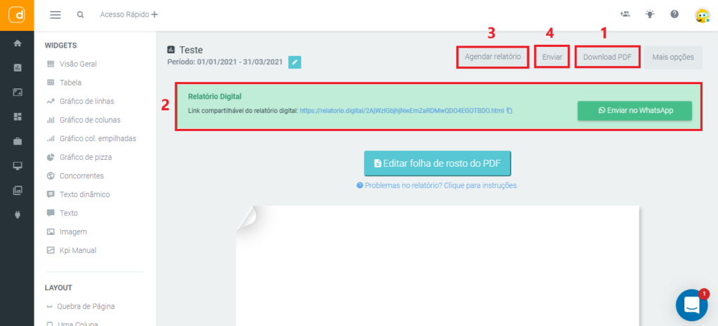 mlabs e dashgoo: imagem da tela de envio do relatório da dashgoo