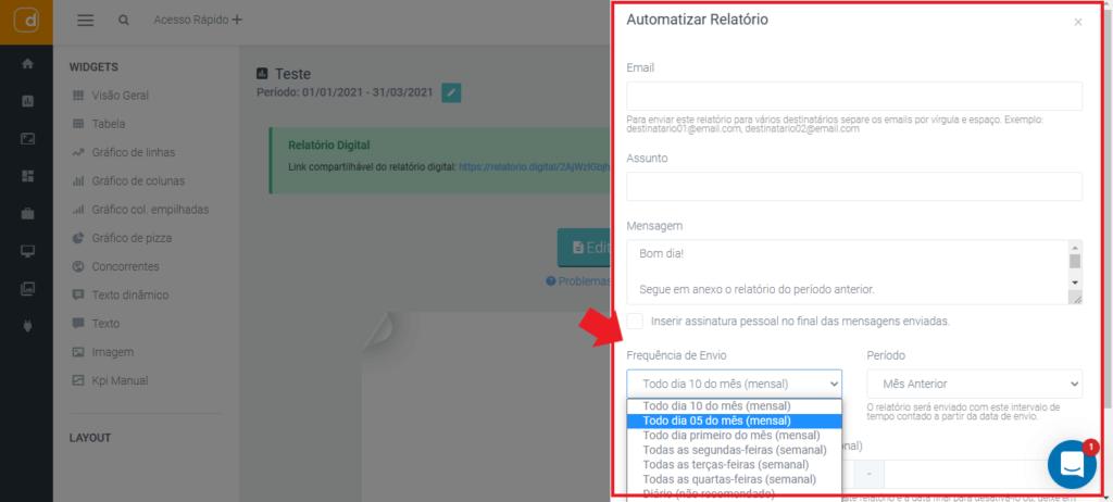 mlabs e dashgoo: imagem da tela de automatização do relatório