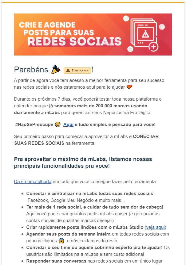 email marketing exemplo: imagem de um e-mail da mLabs para ativação da conta