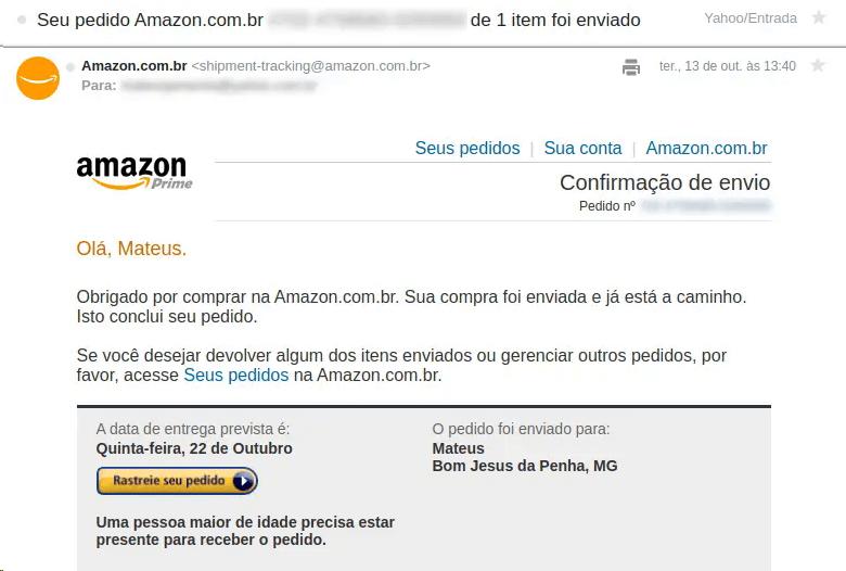 email marketing exemplo: imagem do email da amazon