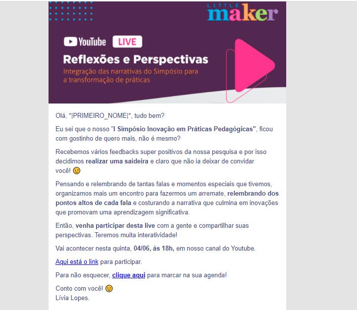 email marketing exemplo: imagem do email da little maker